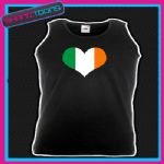 IRELAND IRISH FLAG LOVE HEART RUGBY UNISEX  PRINTED  VEST TOP